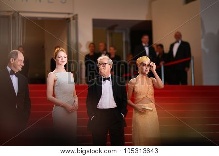 Emma Stone, Woody Allen, Parker Posey attend the Premiere of 'Irrational Man' during the 68th annual Cannes Film Festival on May 15, 2015 in Cannes, France.