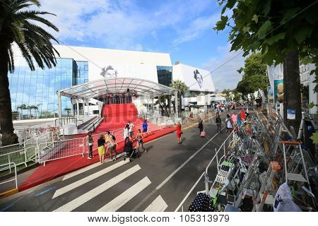 CANNES, FRANCE - MAY 2015: A general view of atmosphere on during the 68th Annual Cannes Film Festival on May 19, 2015 in Cannes, France.