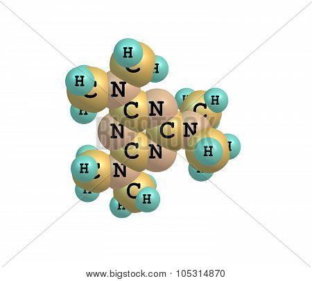 A model of a molecule of Altretamine. It is used as a cancer treatment particularly for ovarian cancer. 3d illustration