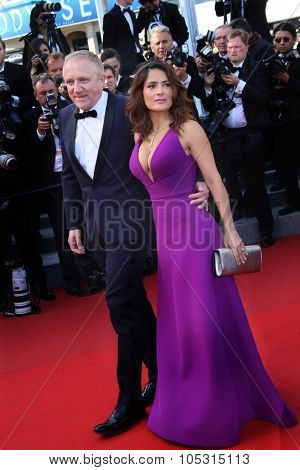 Actress Salma Hayek,  Francois Henri Pinault  attend the 'Carol' Premiere during the 68th annual Cannes Film Festival on May 17, 2015 in Cannes, France.