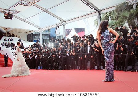 Megan Gale, Araya Hargate attend the 'Sicario' premiere during the 68th annual Cannes Film Festival on May 19, 2015 in Cannes, France.