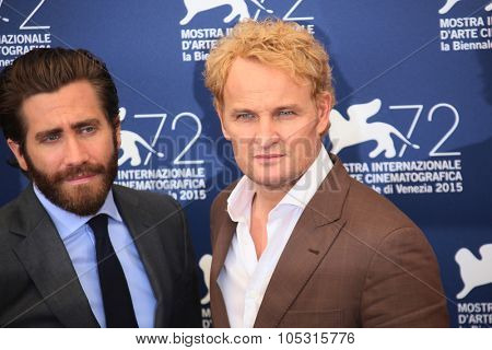 Actor Jake Gyllenhaal, Jason Clarke attend  'Everest' Photocall during the 72nd Venice Film Festival on September 2, 2015 in Venice, Italy.