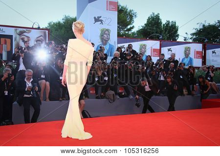 Tilda Swinton attends a premiere for 'A Bigger Splash' during the 72nd Venice Film Festival at Sala Grande on September 6, 2015 in Venice, Italy.