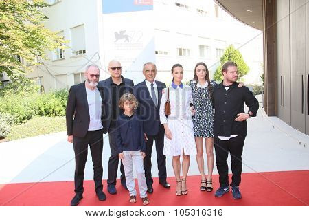 Stacy Martin, Brady Corbet, Tom Sweet, Berenice Bejo and Liam Cunningham attend a premiere for 'The Childhood Of A Leader' during the 72nd Venice Film Festival on September 5, 2015 in Venice, Italy.