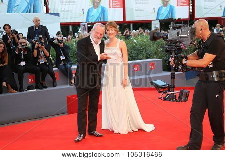 Terry Gilliam and Cristiana Capotondi  attend a premiere for 'Rabin, The Last Day' during the 72nd Venice Film Festival at Palazzo del Casino on September 7, 2015 in Venice, Italy.
