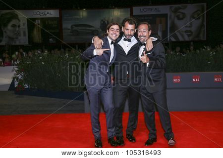 Peter Lanzani, Pablo Trapero and actor Guillermo Francella attend a premiere for 'El Clan' during the 72nd Venice Film Festival at Sala Grande on September 06, 2015 in Venice, Italy.