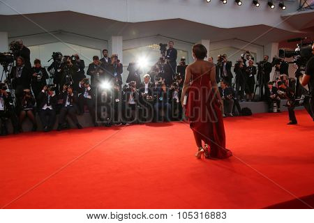 Edwina Findley attends a premiere for 'Remember' during the 72nd Venice Film Festival at Sala Grande on September 10, 2015 in Venice, Italy.