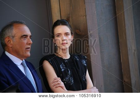 Venice, Italy - 10 September 2015: Actress Stacy Martin, Alberto Barbera attend a premiere for 'Taj Mahal' during the 72nd Venice Film Festival at Sala Darsena