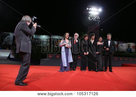 Nora Velazquez, Arturo Ripstein and Patricia Reyes Spindola attend a premiere for 'La Calle De La Amargura' during the 72nd Venice Film Festival at Sala Grande on September 10, 2015 in Venice, Italy.