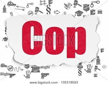 Law concept: Cop on Torn Paper background