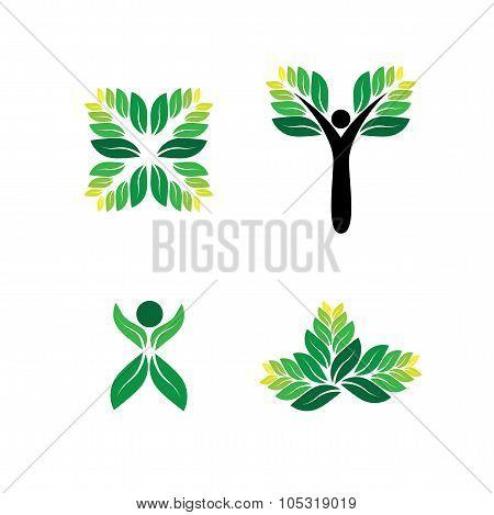 Green People, Eco, Sustainable Development Vector Logo Icon.