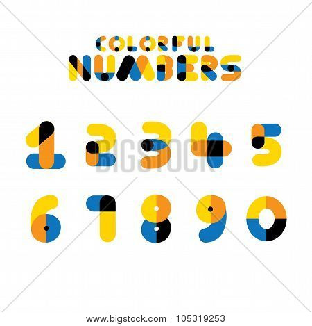 Colorful Vector Numerals And Integers  Or Numbers.