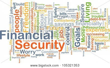 Background concept wordcloud illustration of financial security