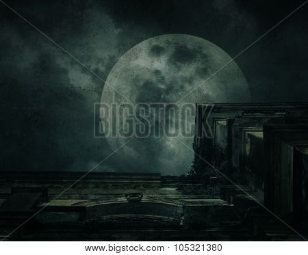 Spooky Building With Full Moon, Grunge Texture, Halloween Background