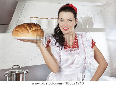 Cheerful Brunette Woman Baking Bread
