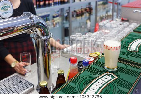 MOSCOW - DECEMBER 2, 2014: bartender at the bar of Moscow Brewing Company