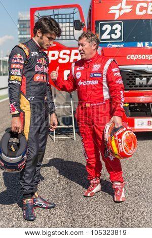 MADRID, SPAIN - OCTOBER 3 2015. XXIX European Truck racing Championship, Jarama circuit. With Formula I pilot Carlos Sainz and Spanish Truck pilot Antonio Albacete.