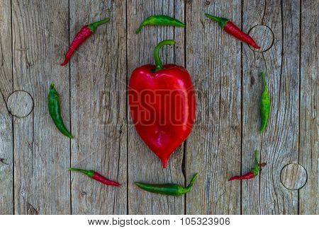 Chili peppers and bell pepper