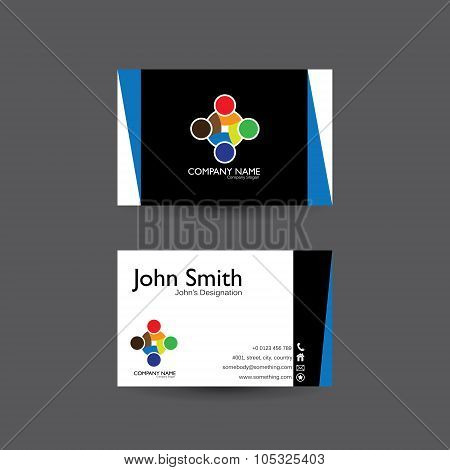 Vector Modern Creative And Clean Business Card Template With People Unity Logo