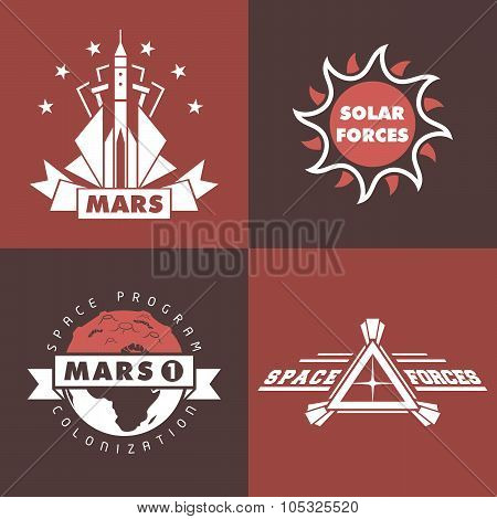Set Of Space Badges And Labels