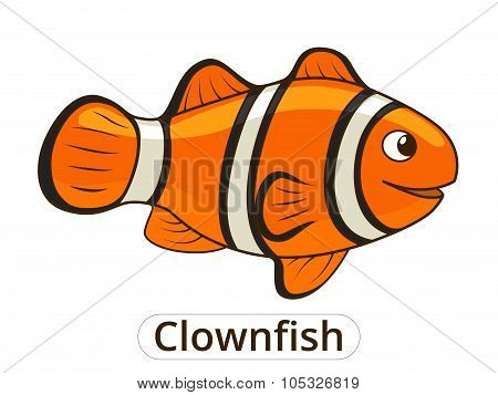 Clownfish sea fish cartoon illustration