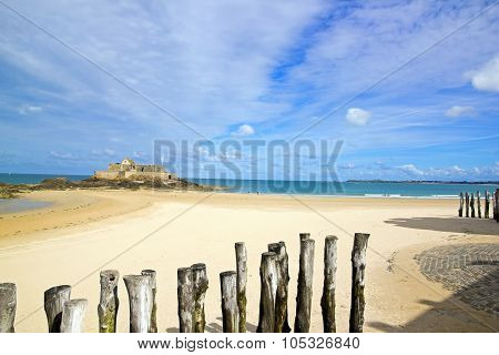 Saint-Malo, the beach in low tide and the national fort (Brittany France)
