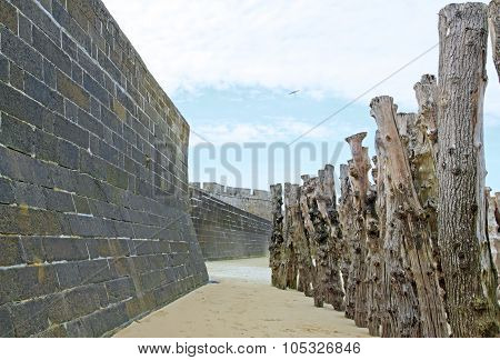 St Malo, the city walls and tree trunks to protect against high tides (Brittany France)