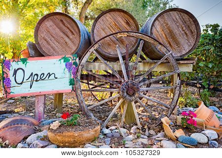 Wine Barrels And Open Sign In Front Of A New Mexico Winery