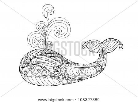 Zentangle Whale Coloring Page