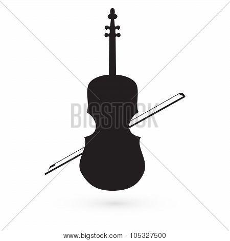 violin icon vector black image