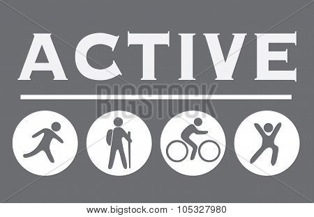 Active Sign On The Gray, Activity Icons