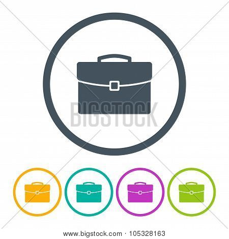briefcase icons set colored on the gray background. stock vector