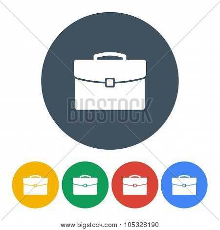 briefcase icons set colorful on the gray background. stock vector