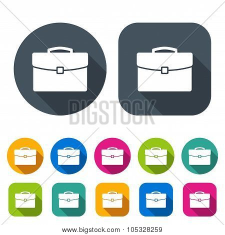 briefcase icons set in the style flat design different color