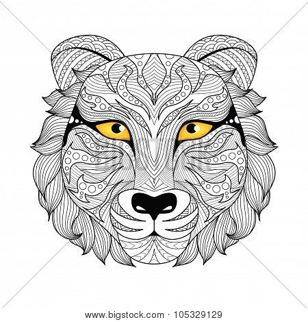 Detail zentangle tiger for coloring page,tattoo, shirt design,logo, sign and so on