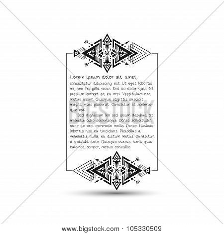 Citation text box, tribal style frame with place for your text. Vector illustration
