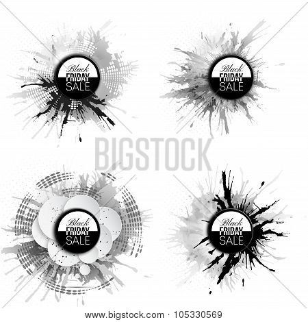 Black friday elements, noir design sale banners set, vector illustration
