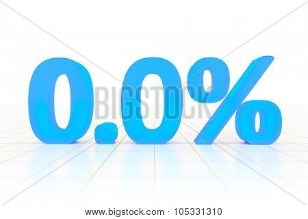 A zero percent sign in a white background