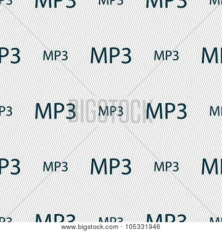 Mp3 Music Format Sign Icon. Musical Symbol. Seamless Abstract Background With Geometric Shapes.