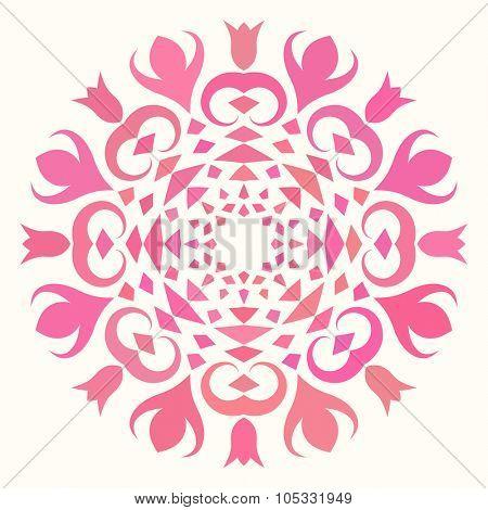 Round pattern, Circular ornament design element, Pink color