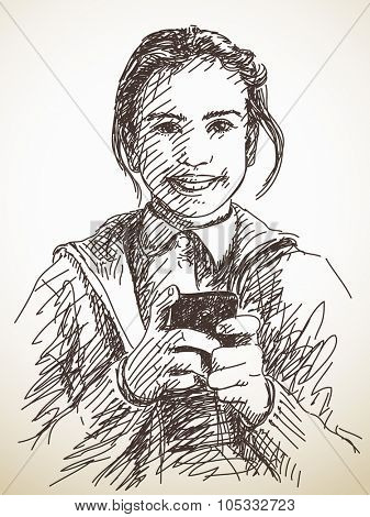 Teenager girl using smart phone, Vector sketch, Hand drawn illustration
