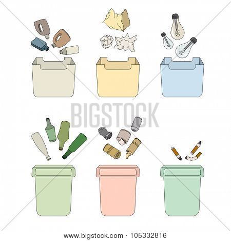 Sorting waste concept. Different kinds of rubbish bins and sorts of waste.