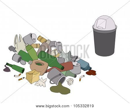 Different kinds of garbage and rubbish bin isolated on white