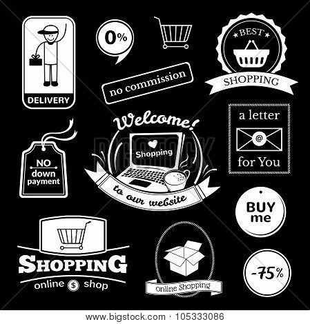 Online shopping signs set