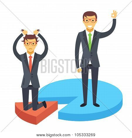 Happy and disappointed businessmen standing on chart pieces. Business success and failure