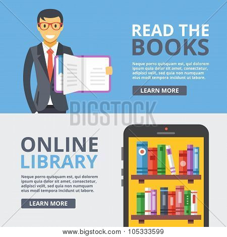 Read books, online library flat illustration set. Education, reading concept