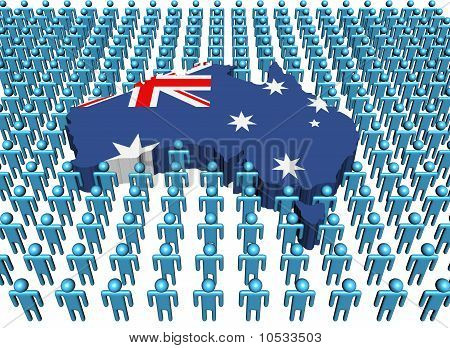 Australia Map Flag with Many People