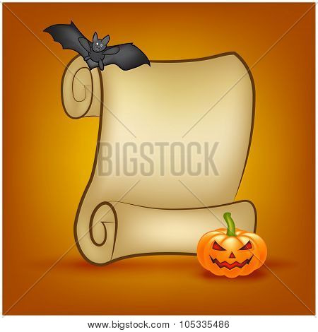 Halloween Banner, Card With Empty Paper Scroll And Pumpkin, Bat. Blank Ancient Scroll Of Parchment W