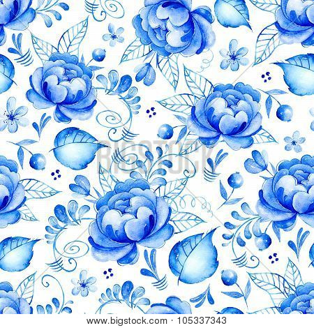 Abstract watercolor floral seamless pattern with folk art flowers