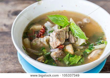 Thai Food And Tom Yum Pork With Mushroom